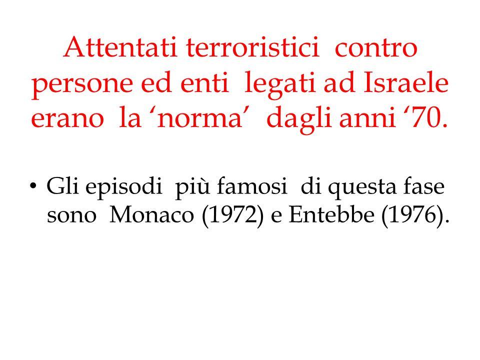 Attentati terroristici contro persone ed enti legati ad Israele erano la 'norma' dagli anni '70.