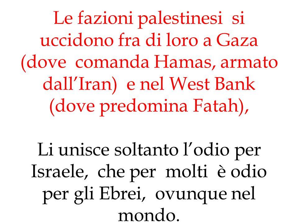 Le fazioni palestinesi si uccidono fra di loro a Gaza (dove comanda Hamas, armato dall'Iran) e nel West Bank (dove predomina Fatah), Li unisce soltanto l'odio per Israele, che per molti è odio per gli Ebrei, ovunque nel mondo.