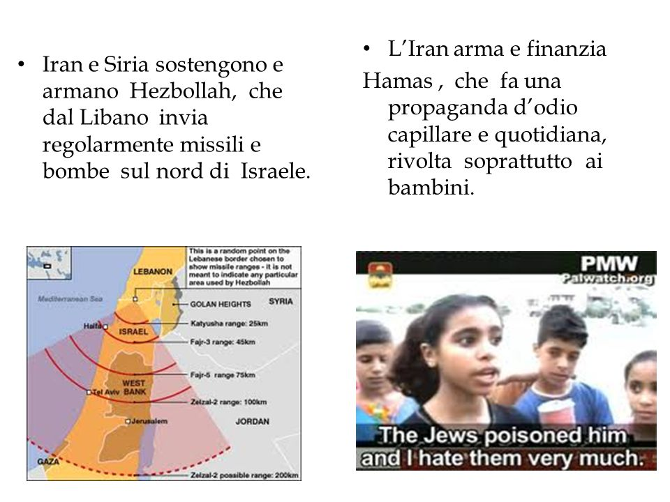 L'Iran arma e finanzia Hamas , che fa una propaganda d'odio capillare e quotidiana, rivolta soprattutto ai bambini.