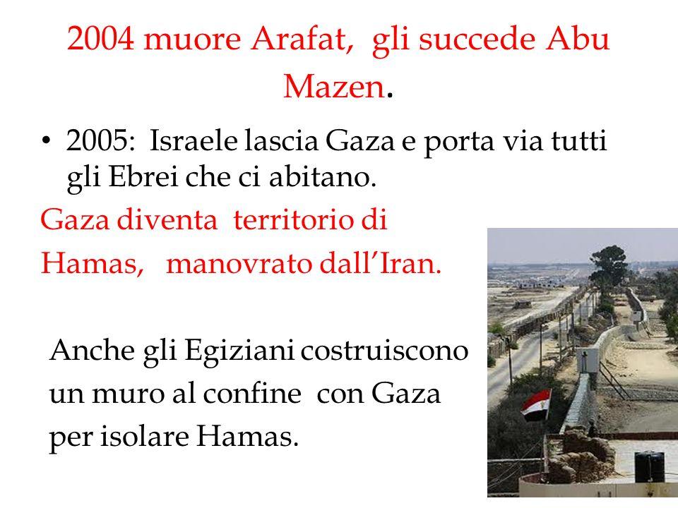 2004 muore Arafat, gli succede Abu Mazen.