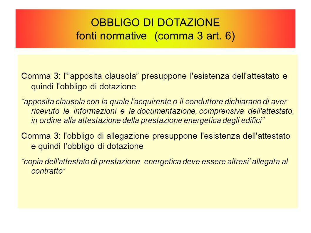 OBBLIGO DI DOTAZIONE fonti normative (comma 3 art. 6)