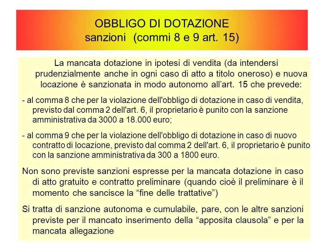 OBBLIGO DI DOTAZIONE sanzioni (commi 8 e 9 art. 15)