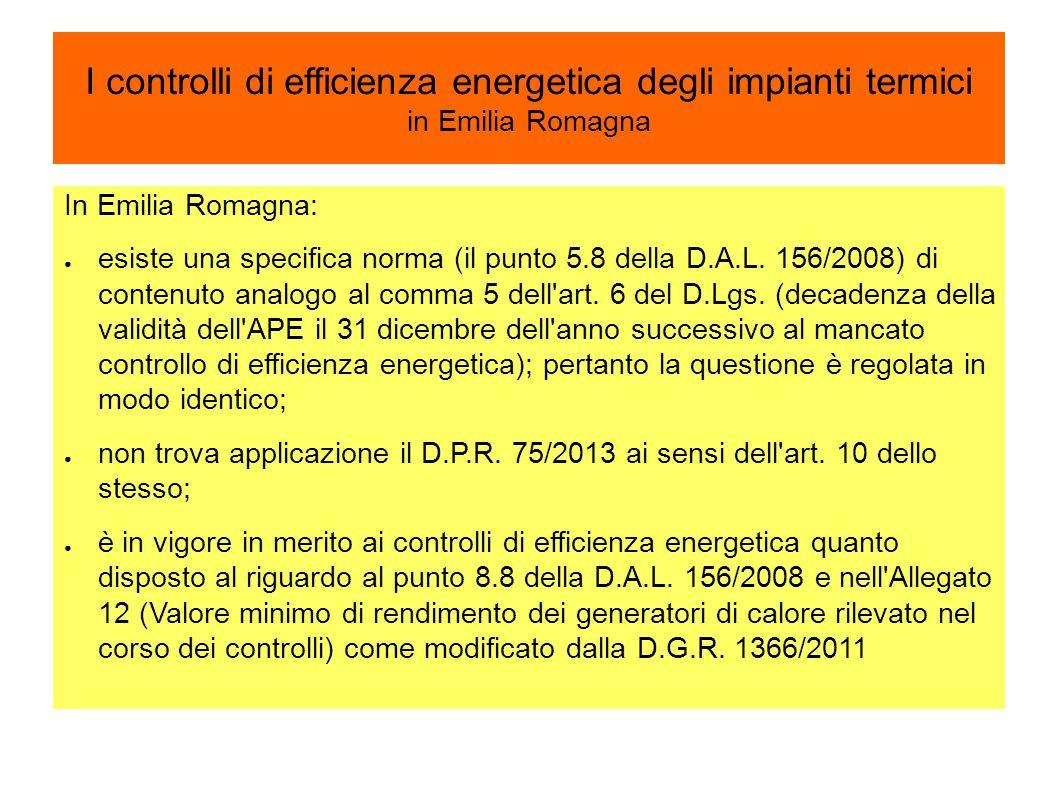 I controlli di efficienza energetica degli impianti termici in Emilia Romagna
