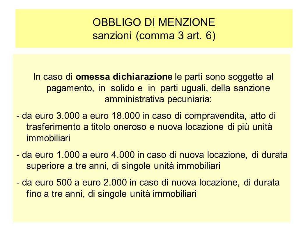 OBBLIGO DI MENZIONE sanzioni (comma 3 art. 6)