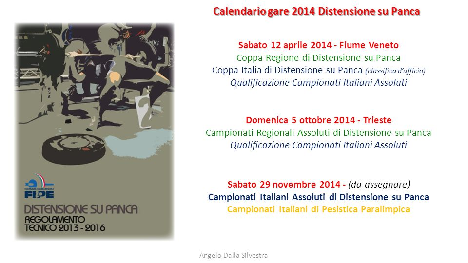 Calendario gare 2014 Distensione su Panca