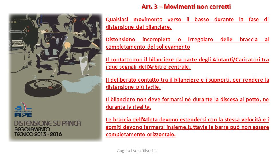 Art. 3 – Movimenti non corretti