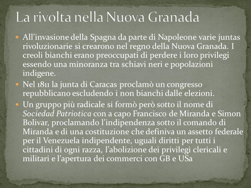 La rivolta nella Nuova Granada