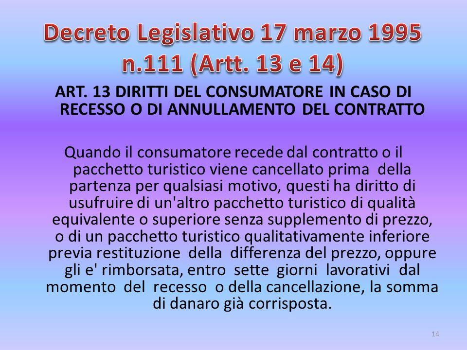 Decreto Legislativo 17 marzo 1995 n.111 (Artt. 13 e 14)