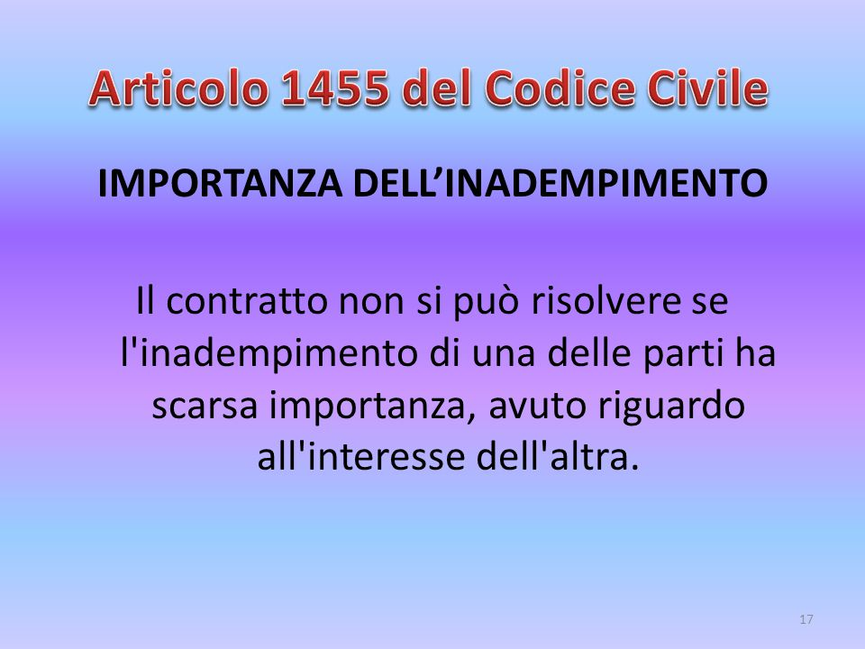 Articolo 1455 del Codice Civile