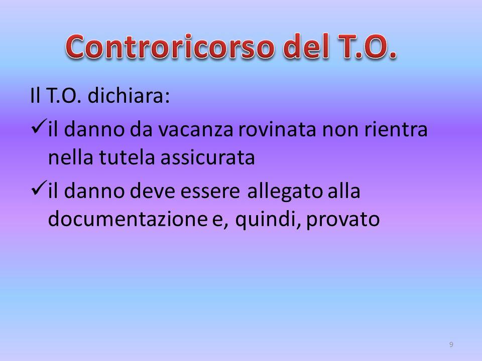 Controricorso del T.O. Il T.O. dichiara: