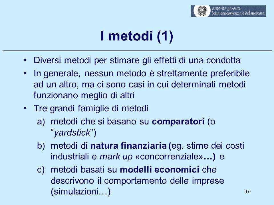 I metodi (1) Diversi metodi per stimare gli effetti di una condotta