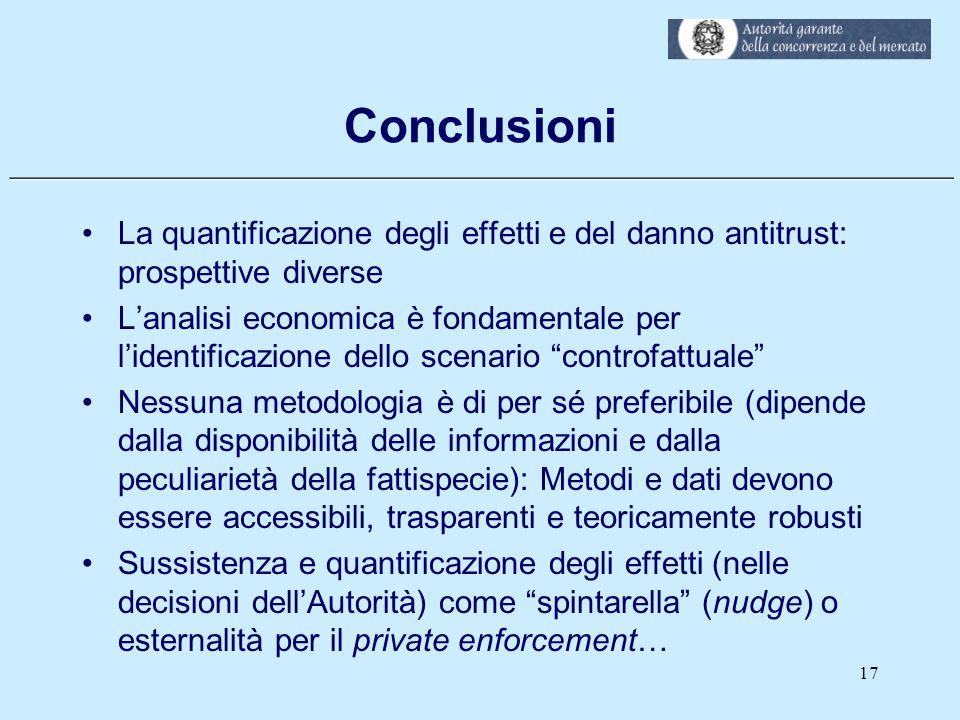 Conclusioni La quantificazione degli effetti e del danno antitrust: prospettive diverse.