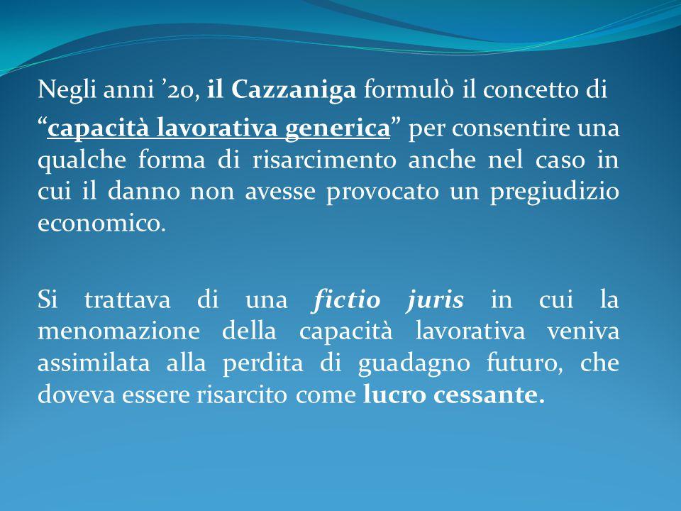 Negli anni '20, il Cazzaniga formulò il concetto di