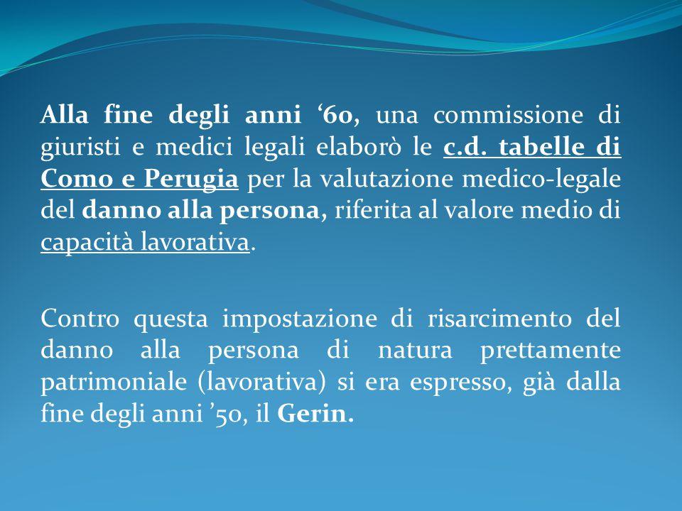 Alla fine degli anni '60, una commissione di giuristi e medici legali elaborò le c.d. tabelle di Como e Perugia per la valutazione medico-legale del danno alla persona, riferita al valore medio di capacità lavorativa.