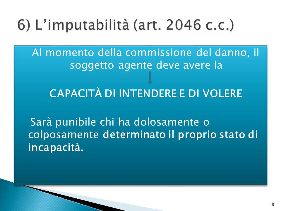 6) L'imputabilità (art. 2046 c.c.)