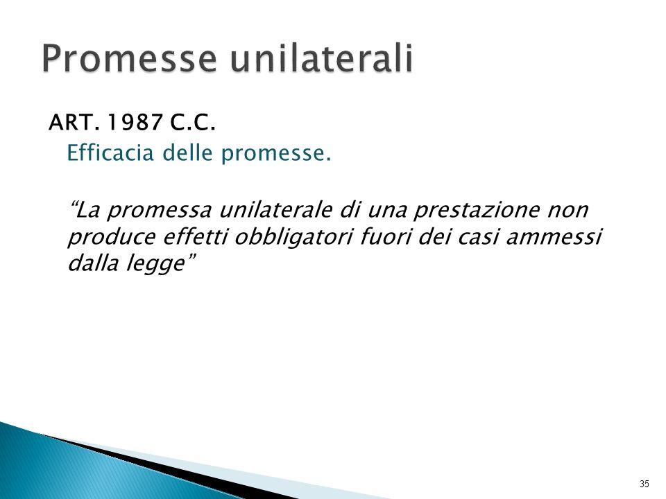 Promesse unilaterali ART. 1987 C.C. Efficacia delle promesse.