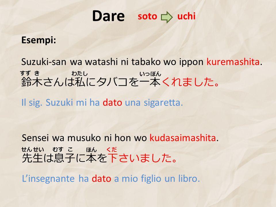 Dare soto. uchi. Esempi: Suzuki-san wa watashi ni tabako wo ippon kuremashita. すず. き. わたし. いっぽん.