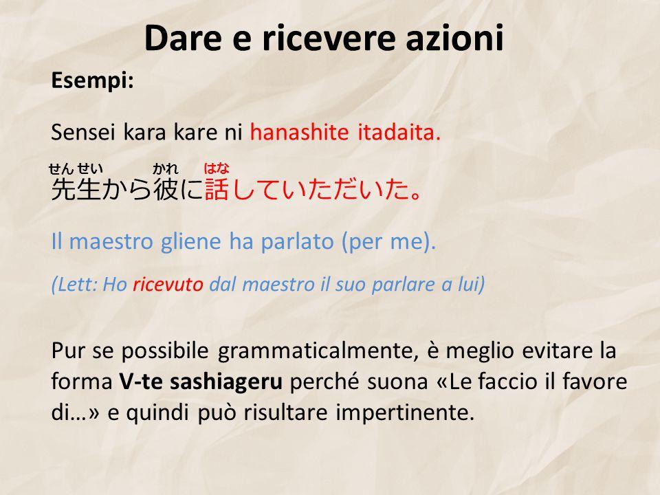 Dare e ricevere azioni Esempi: Sensei kara kare ni hanashite itadaita.