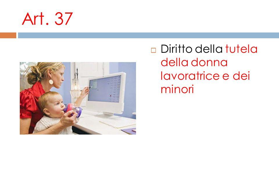 Art. 37 Diritto della tutela della donna lavoratrice e dei minori