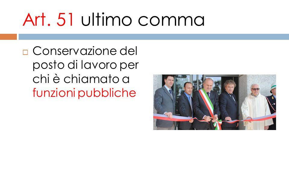 Art. 51 ultimo comma Conservazione del posto di lavoro per chi è chiamato a funzioni pubbliche