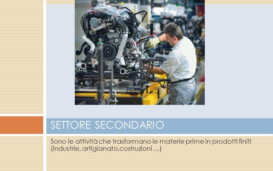 SETTORE SECONDARIO Sono le attività che trasformano le materie prime in prodotti finiti (industrie, artigianato,costruzioni …)