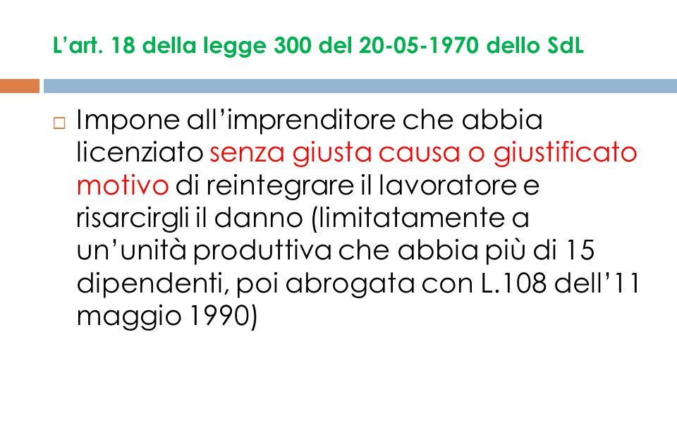L'art. 18 della legge 300 del 20-05-1970 dello SdL