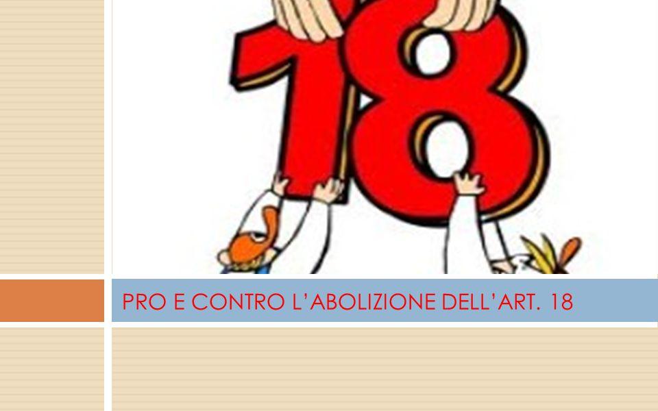 PRO E CONTRO L'ABOLIZIONE DELL'ART. 18