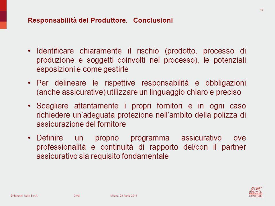 Responsabilità del Produttore. Conclusioni