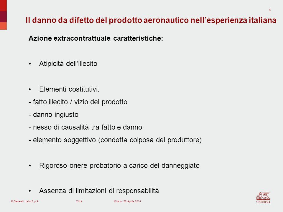Il danno da difetto del prodotto aeronautico nell'esperienza italiana