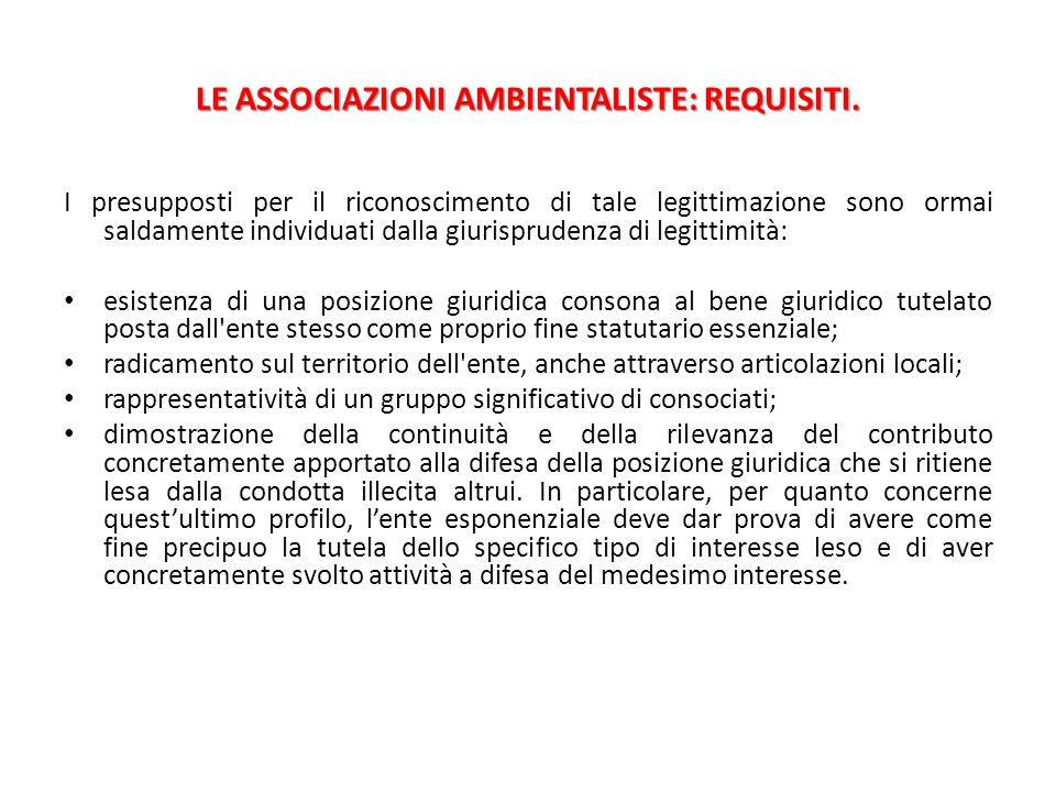 LE ASSOCIAZIONI AMBIENTALISTE: REQUISITI.