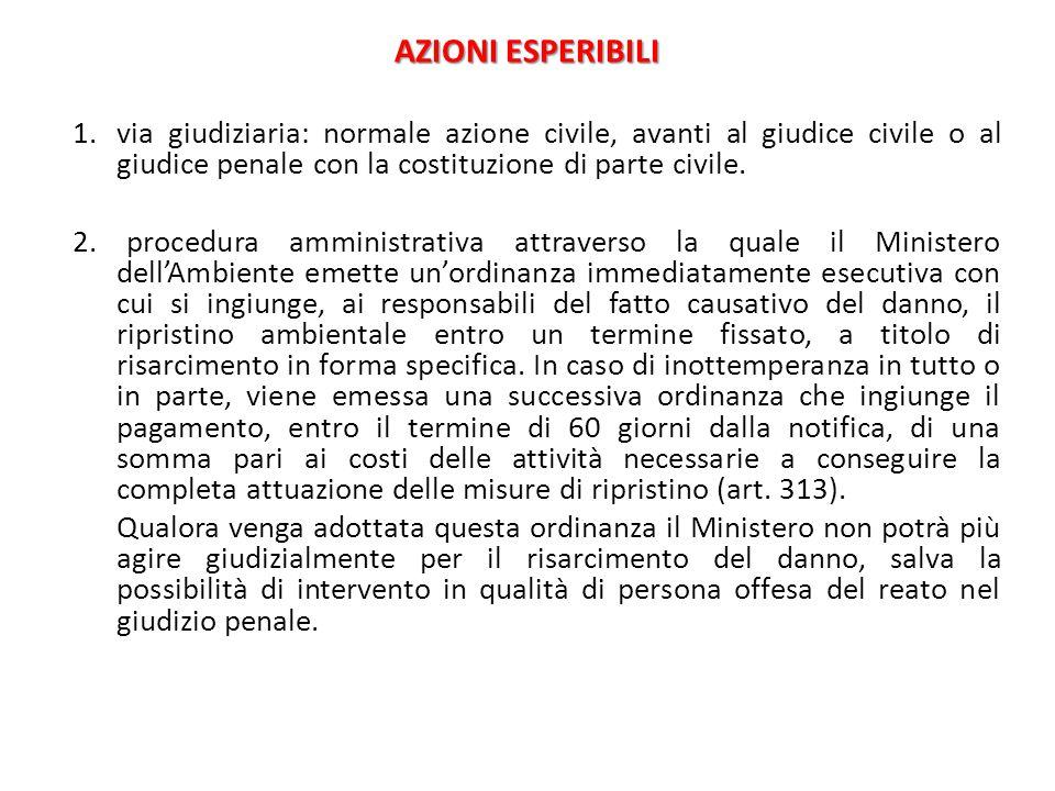 AZIONI ESPERIBILI via giudiziaria: normale azione civile, avanti al giudice civile o al giudice penale con la costituzione di parte civile.