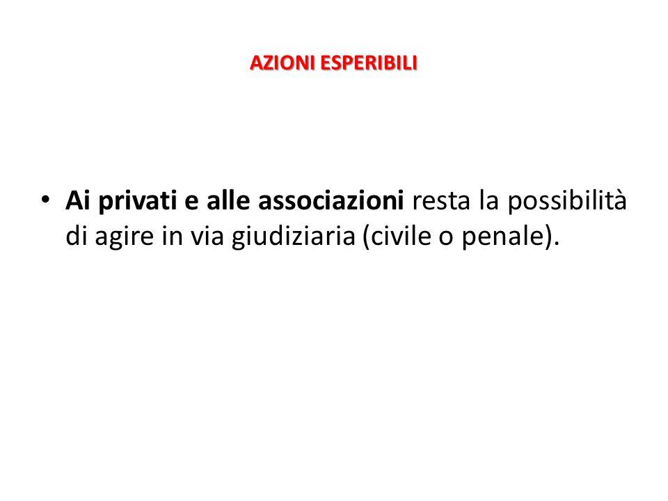 AZIONI ESPERIBILI Ai privati e alle associazioni resta la possibilità di agire in via giudiziaria (civile o penale).