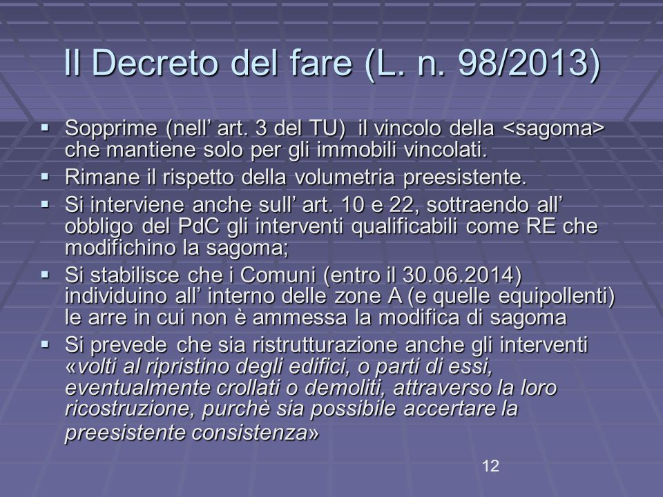 Il Decreto del fare (L. n. 98/2013)