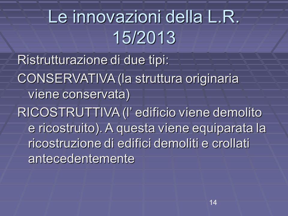Le innovazioni della L.R. 15/2013