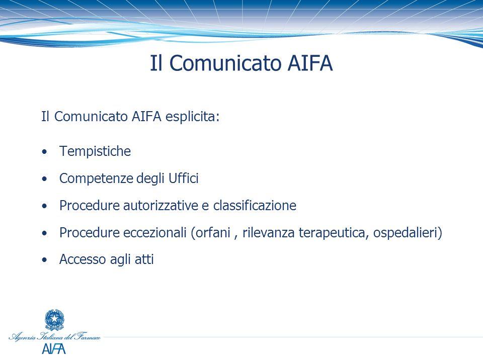 Il Comunicato AIFA Il Comunicato AIFA esplicita: Tempistiche