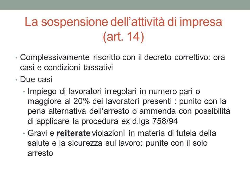 La sospensione dell'attività di impresa (art. 14)