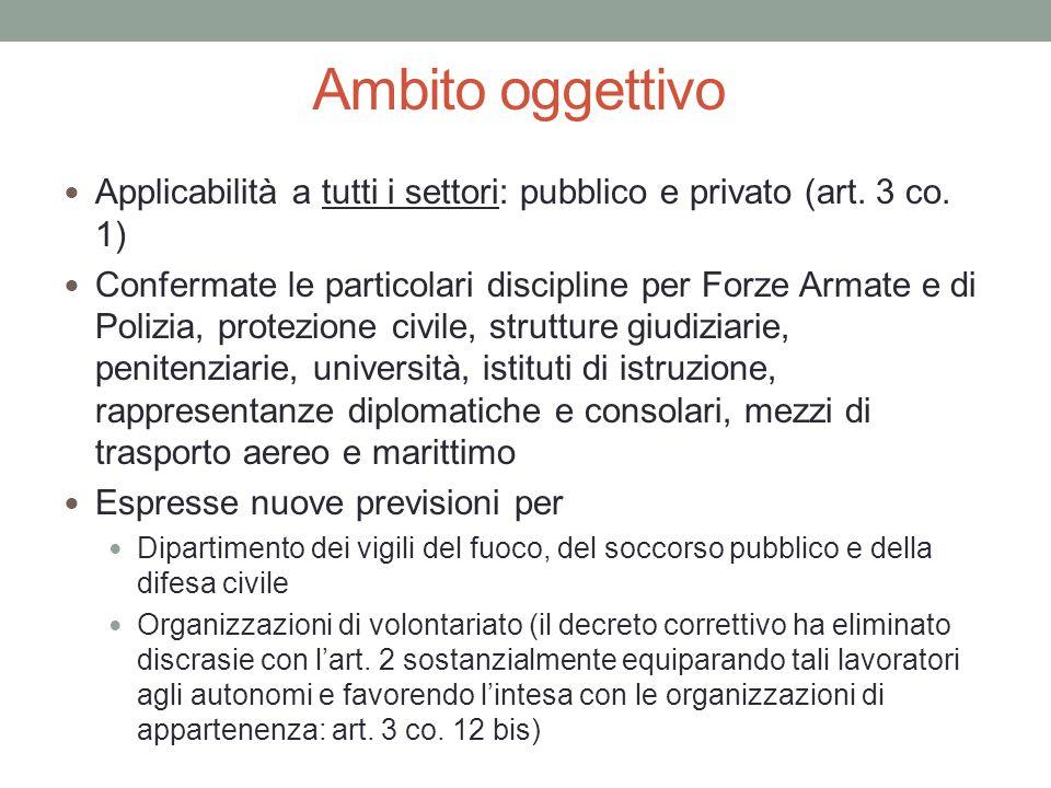 Ambito oggettivo Applicabilità a tutti i settori: pubblico e privato (art. 3 co. 1)