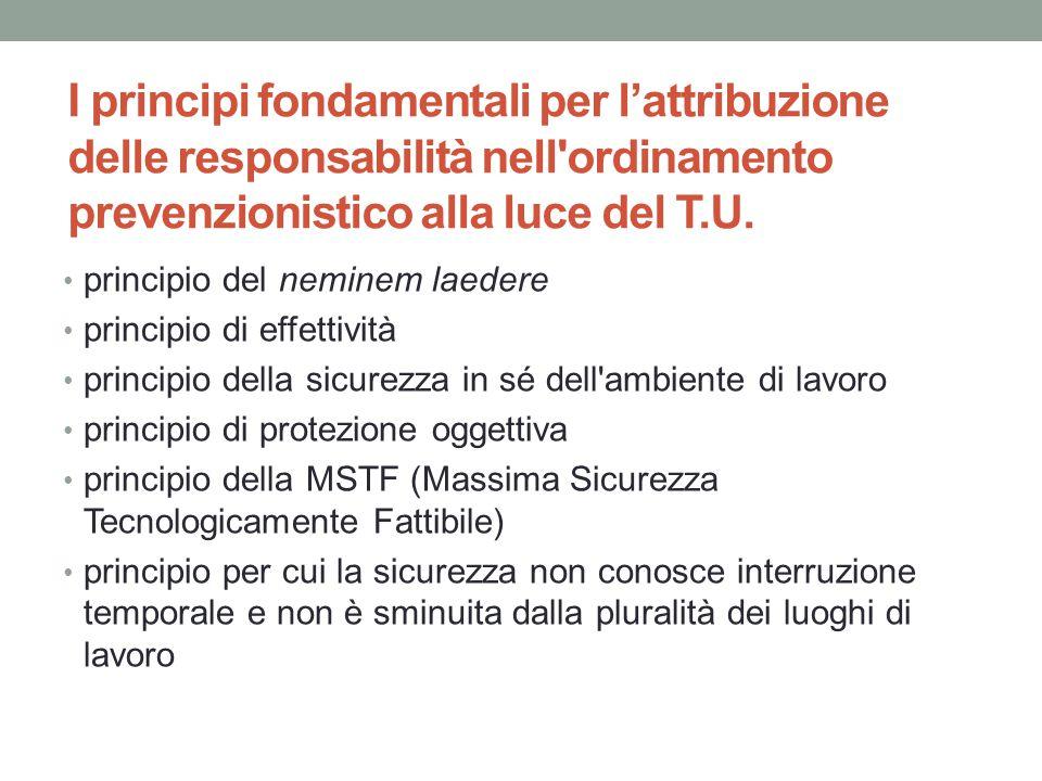 I principi fondamentali per l'attribuzione delle responsabilità nell ordinamento prevenzionistico alla luce del T.U.