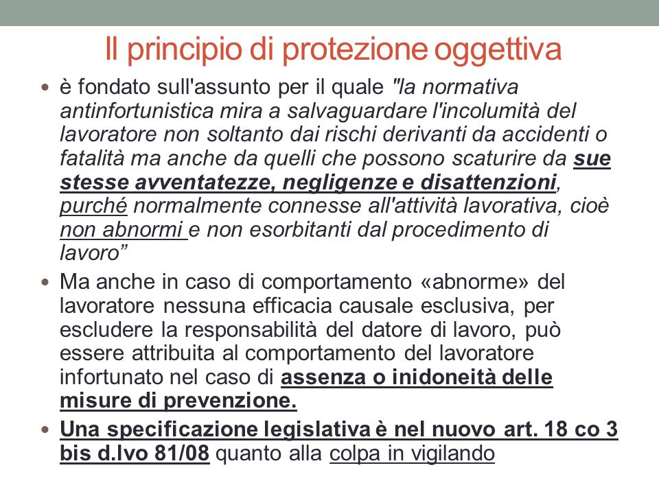 Il principio di protezione oggettiva