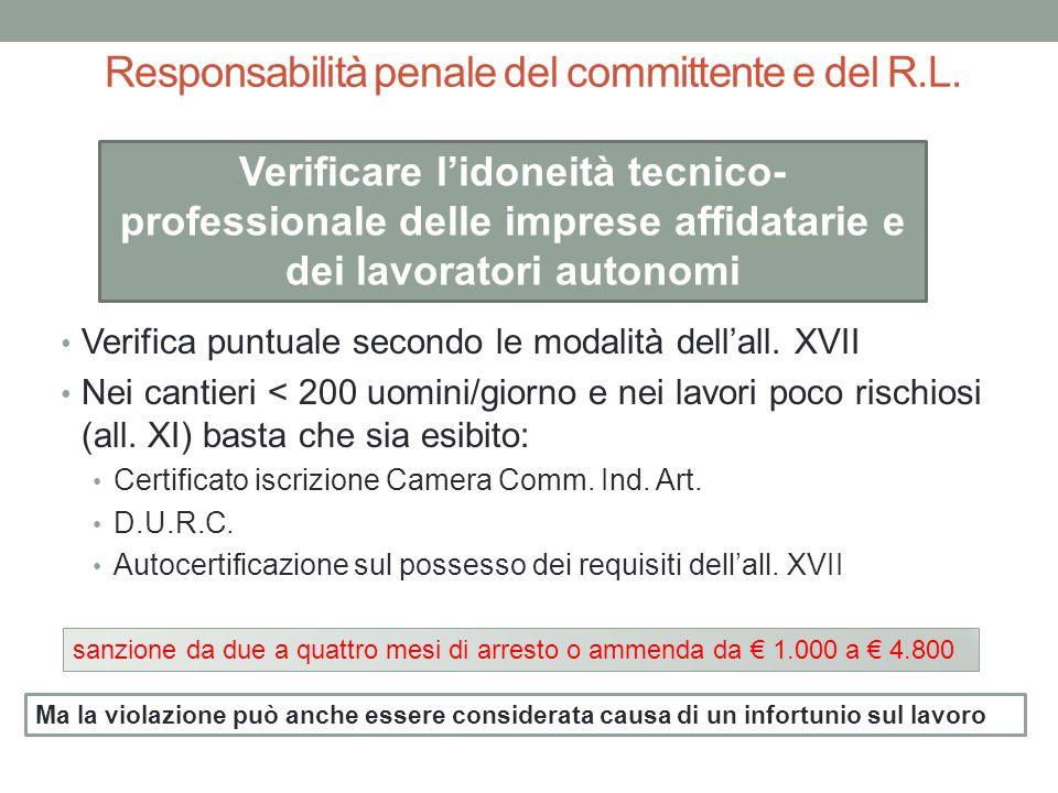 Responsabilità penale del committente e del R.L.