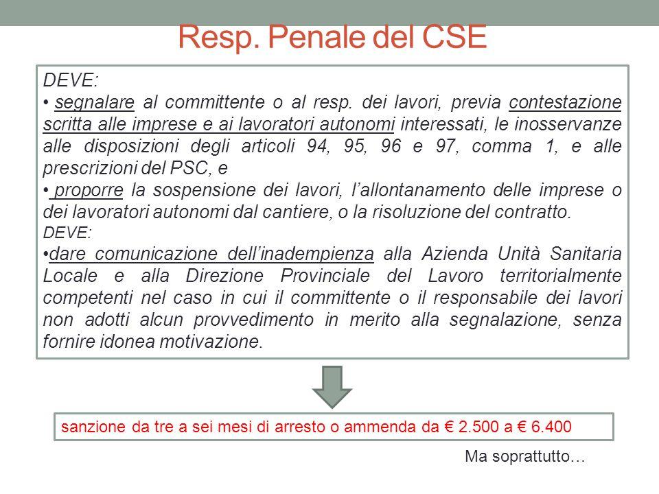Resp. Penale del CSE DEVE: