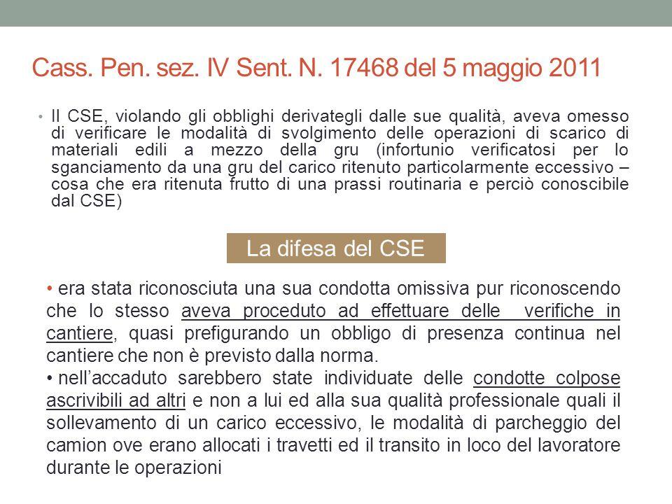 Cass. Pen. sez. IV Sent. N. 17468 del 5 maggio 2011