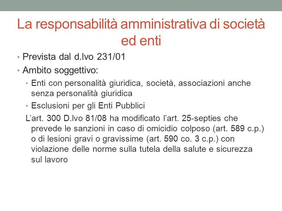La responsabilità amministrativa di società ed enti