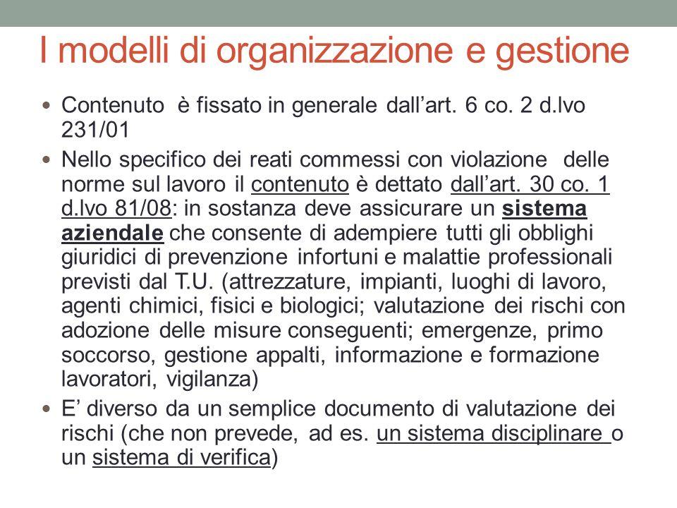 I modelli di organizzazione e gestione