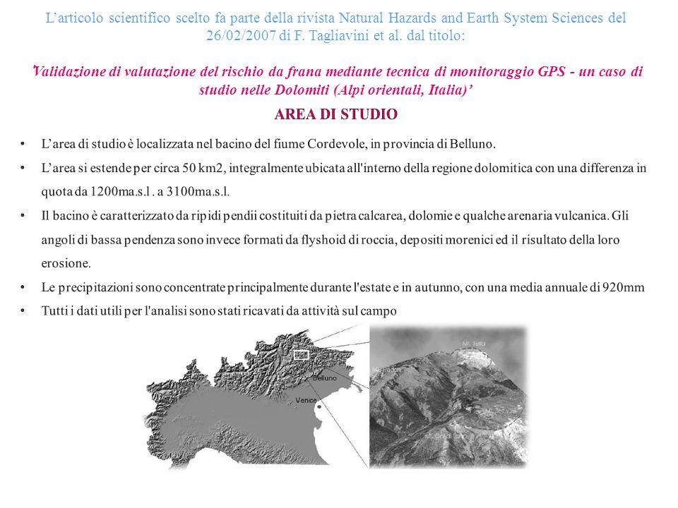 L'articolo scientifico scelto fa parte della rivista Natural Hazards and Earth System Sciences del 26/02/2007 di F. Tagliavini et al. dal titolo: 'Validazione di valutazione del rischio da frana mediante tecnica di monitoraggio GPS - un caso di studio nelle Dolomiti (Alpi orientali, Italia)'
