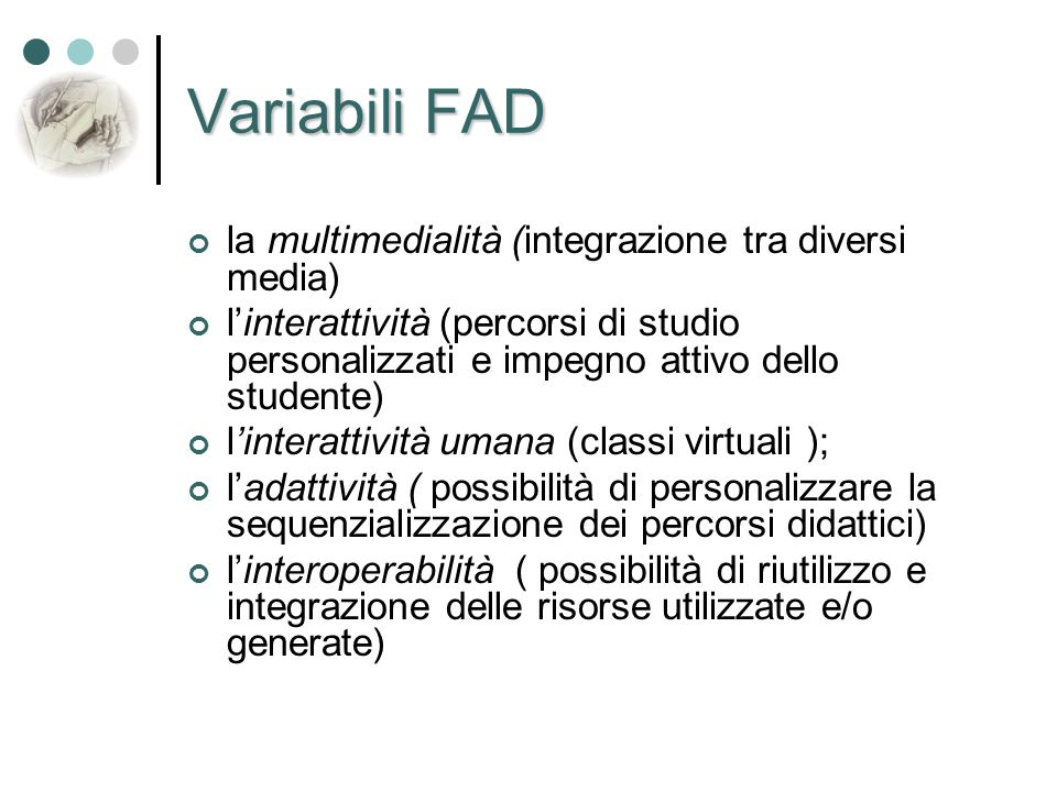 Variabili FAD la multimedialità (integrazione tra diversi media)