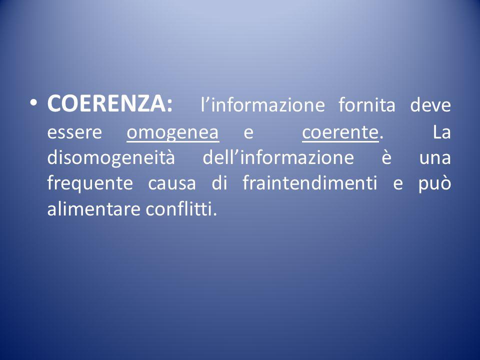 COERENZA: l'informazione fornita deve essere omogenea e coerente