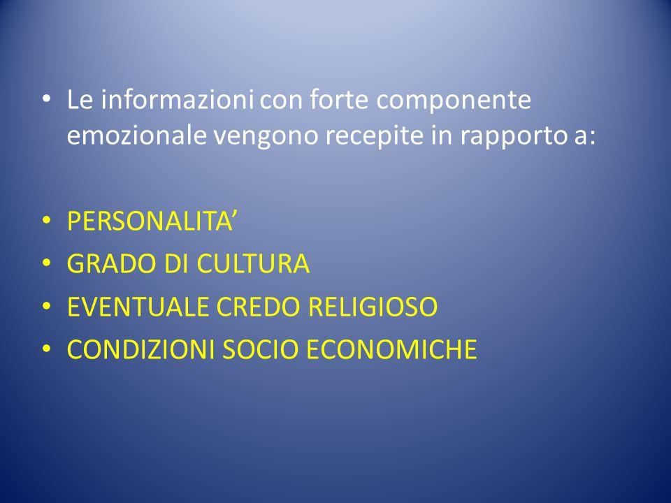 Le informazioni con forte componente emozionale vengono recepite in rapporto a: