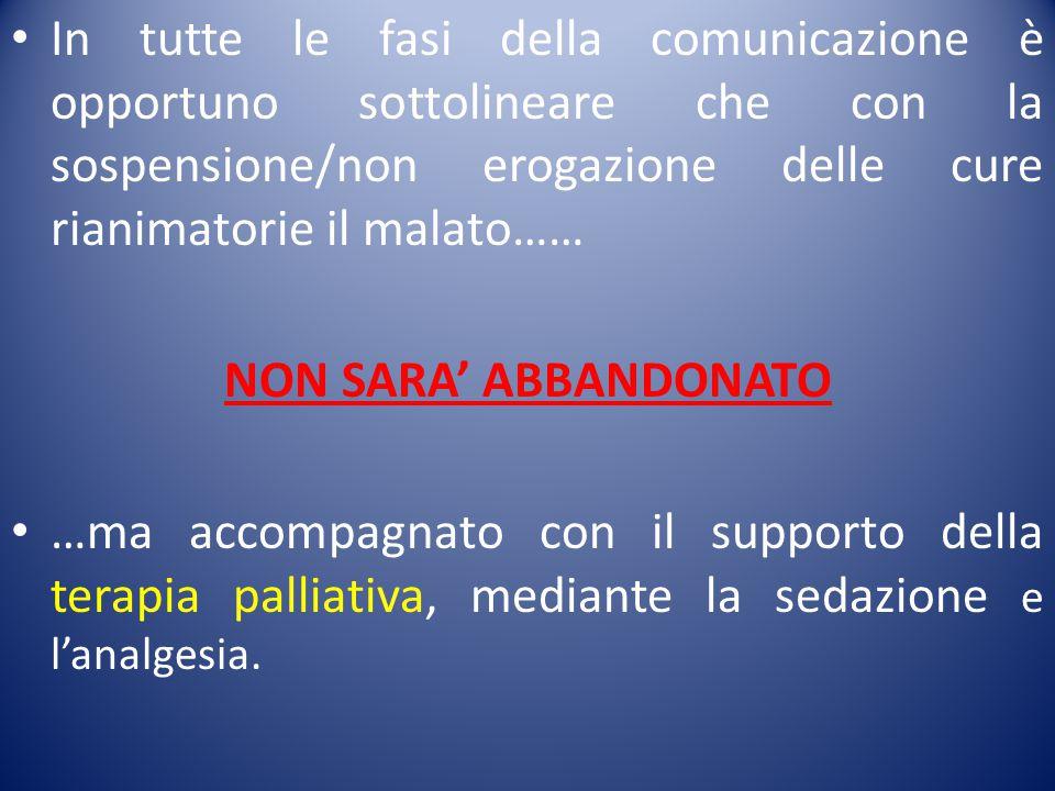 In tutte le fasi della comunicazione è opportuno sottolineare che con la sospensione/non erogazione delle cure rianimatorie il malato……