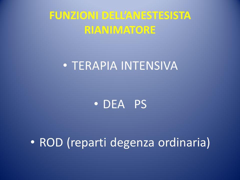 FUNZIONI DELL'ANESTESISTA RIANIMATORE